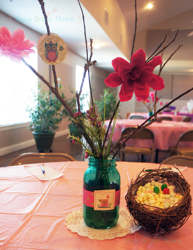 Owl themed baby shower table decoration ideas easy green mom for Baby shower centerpiece decoration