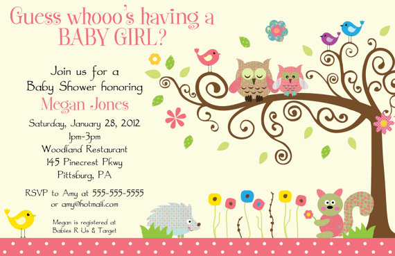 Owl Themed Baby Shower Invitations 570 x 369