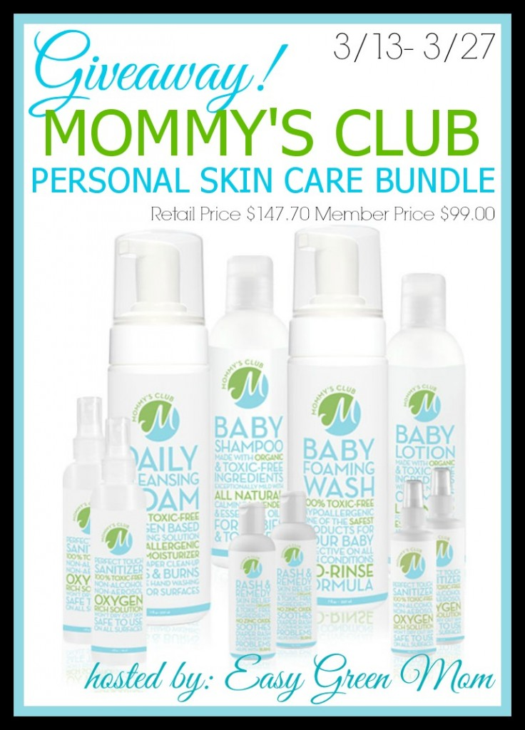 GIVEAWAY MOMMY'S CLUB PERSONAL SKIN CARE BUNDLE - hosted by Easy Green Mom